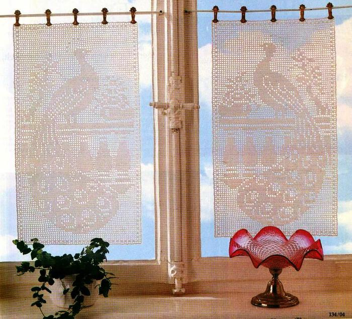 Crochet Beautiful Lace Curtain And Filet Of Peacock Make