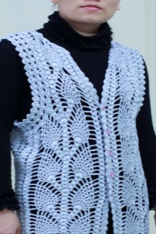 crochet beauty lace pineapple jacket and vest