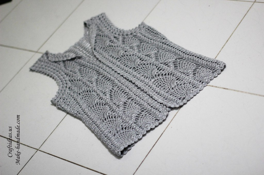 Crochet lace leaves jacket and vest for women