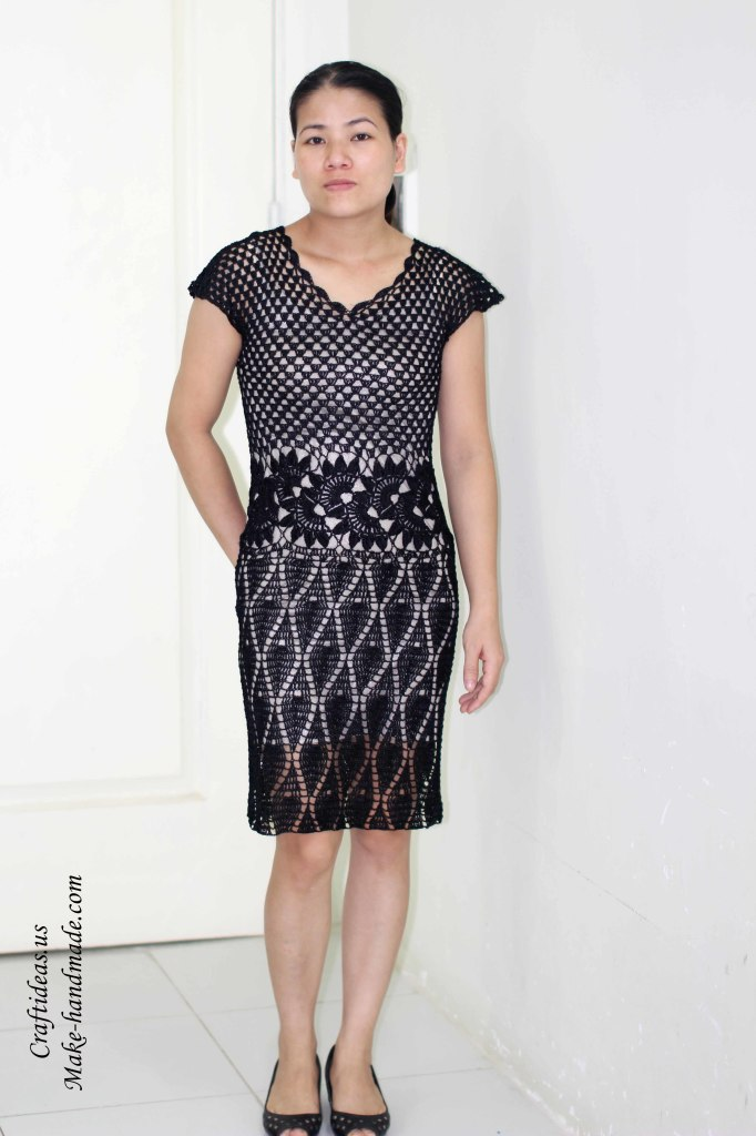 Crochet Lace Black Dress For Women Make Handmade