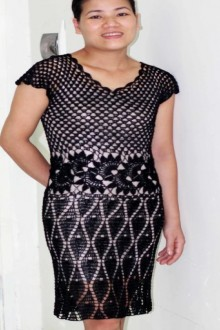 crochet lace black dress for women