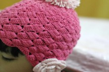 crochet pink flower cable hat for little princess