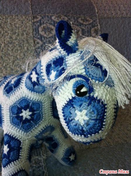 Crochet Little Pony Of African Flower Hexagon Make Handmade
