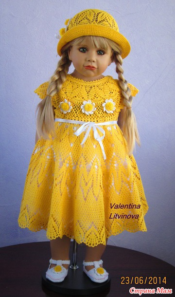 Crochet Patterns Little Girl Dresses : crochet yellow summer dress for little girl make handmade, crochet ...