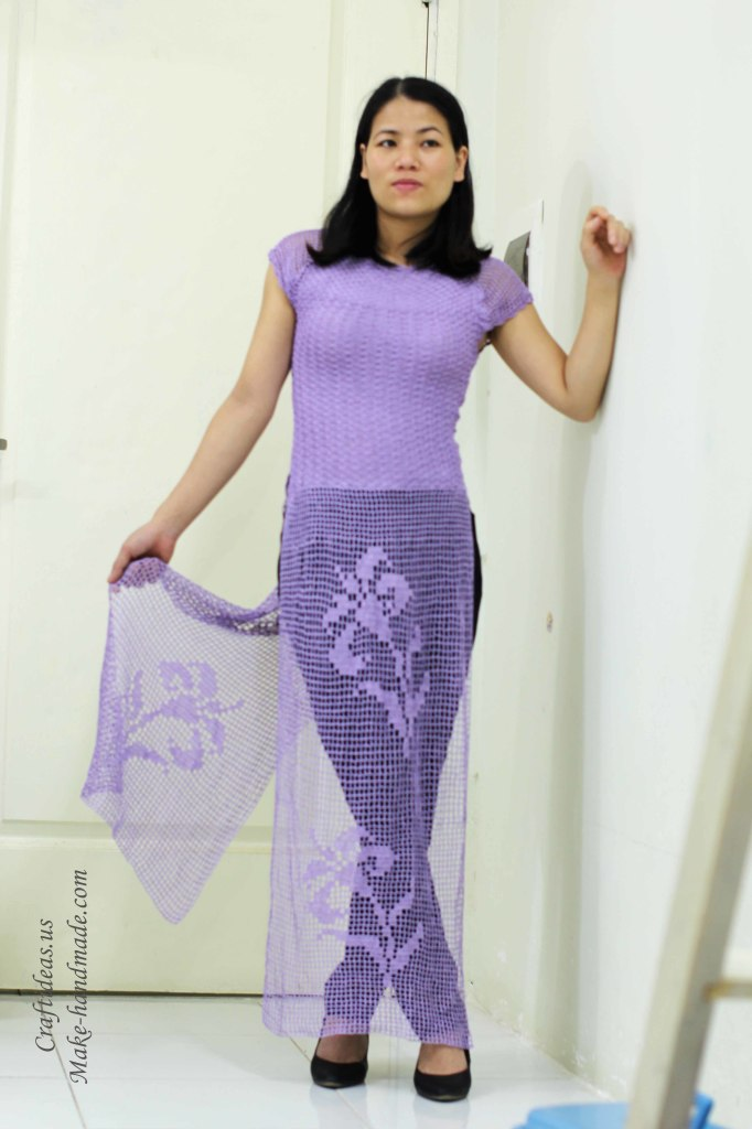 Crochet charming Vietnam dress ideas of fillet chart
