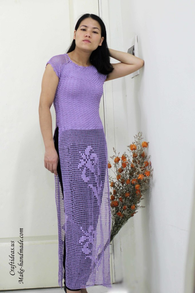 Crochet beauty lace flower dress for women