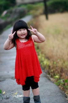 crochet red summer dress for little girl